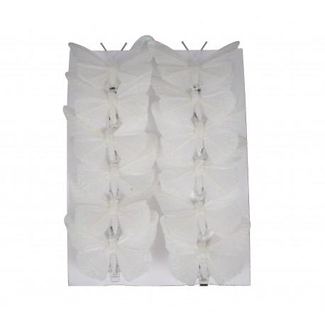 Set 12 fluturi 8 cm. cu cleste