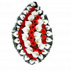 Coroana brad tip lacrima plina cu flori H 140 C4