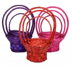 Set 3 cosuri rachita si nuiele late, colorate, rotunde cu o toarta