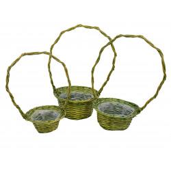 Set 3 cosuri rachita verde rotunde cu o toarta