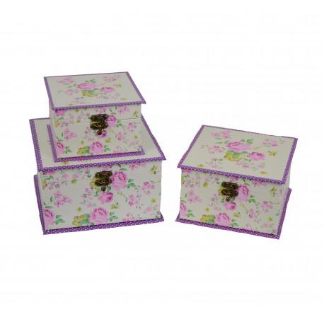 Set 3 cutii patrate tip caseta cu imprimeu