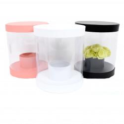 Cutie rotunda,  transparenta din plastic si carton uni mare