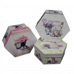 Set 3 cutii hexagonale cu imprimeu fotografic