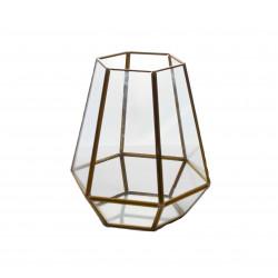 Ornament hexagonal din sticla si alama H 19