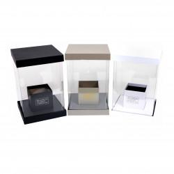 Cutie patrata mica,  transparenta din plastic si carton uni