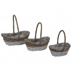 Set 3 cosuri rachita si nuiele, ovale cu o toarta