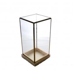 Ornament patrat din sticla si alama cu suport de lemn