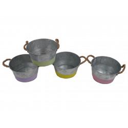 Ghiveci metalic cu toarte de iuta