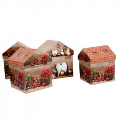 Set 4 cutii casuta model Craciun
