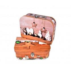 Set 3 cutii tip valiza model craciun