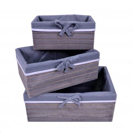 Set 3 ghivece din lemn dreptunghiulare captusite cu panza