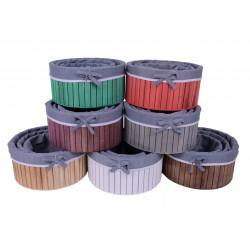 Set 3 ghivece din lemn rotunde captusite cu panza