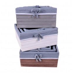 Set 3 ghivece din lemn patrat captusite cu panza