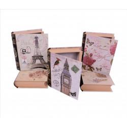 Set 3 cutii tip carte mica cu imprimeu