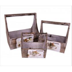 Set 3 ghivece din lemn tip ladita de scule