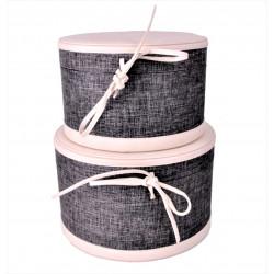 Set doua cutii rotunde din piele ecologica si textil
