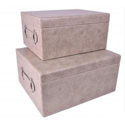 Set doua cutii dreptunghiulare din piele ecologica