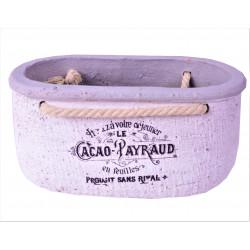 Ghiveci ceramic oval cu toarte de sfoara H 9