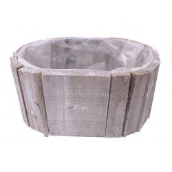 Ghiveci din lemn, oval captusit cu folie din plastic