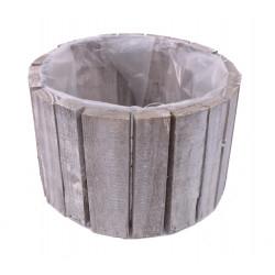 Ghiveci din lemn, rotund captusit cu folie din plastic