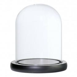 Dom cilindric din sticla cu suport de lemn H 28