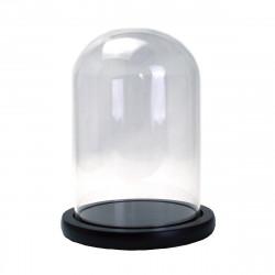 Dom cilindric din sticla cu suport de lemn H 24