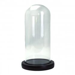 Dom cilindric din sticla cu suport de lemn H 25 / D 10