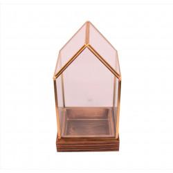 Ornament tip casuta din sticla si alama cu suport de lemn