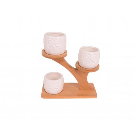 Suport cu 3 ghivece ceramice model bufnita
