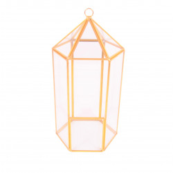 Ornament hexagonal din sticla si alama H 25