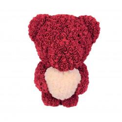 Ursulet cu inimioara din trandafiri de spuma H 60