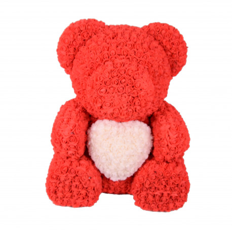 Ursulet cu inimioara din trandafiri de spuma H 70