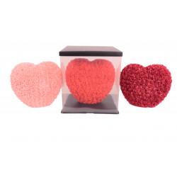 Inima din trandafiri de spuma in cutie transparenta D 35