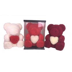 Ursulet cu inimioara din trandafiri de spuma in cutie transparenta H 70