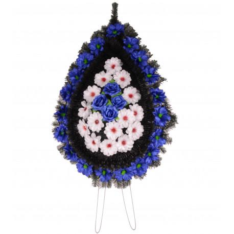 Coroana pin si brad tip lacrima plina cu flori H 120 C4