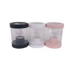 Cutie rotunda,  transparenta din plastic si carton uni mica