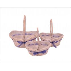 Set 3 cosuri ovale din bambus cu o toarta si funda