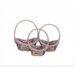 Set 3 cosuri ovale bambus si nuiele cu o toarta