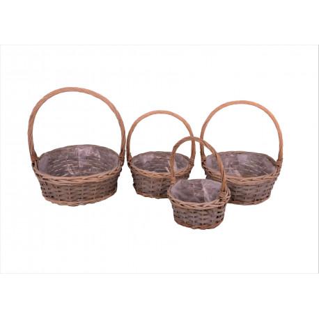 Set 4 cosuri rotunde rachita, bambus  si nuiele cu o toarta