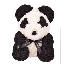 Ursulet din trandafiri de spuma tip panda in cutie transparenta H 40