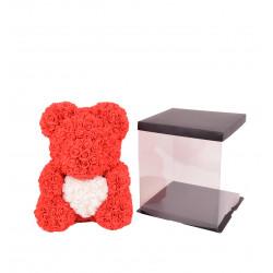 Ursulet cu inimioara din trandafiri de spuma in cutie transparenta H 40