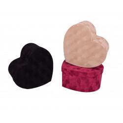 Set 3 cutii tip inima uni din catifea