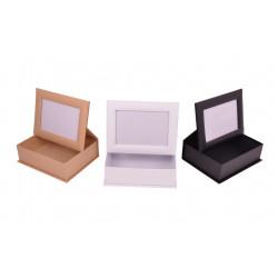 Set doua cutii dreptunghiulare uni cu rama foto pe capac