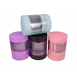 Set 3 cutii rotunde din carton si plastic transparent H 27