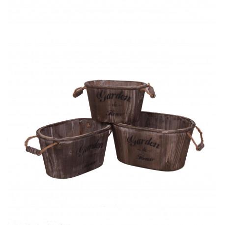 Set 3 ghivece ovale din lemn cu toarte