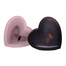 Set 5 cutii tip inima cu capac transparent