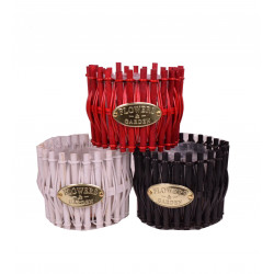 Ghiveci din surcele de lemn, rotund captusit cu folie din plastic