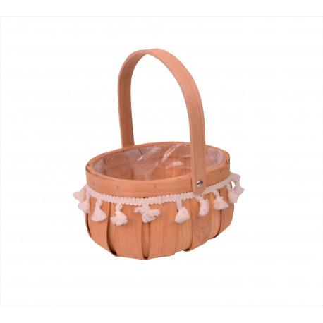 Cos de lemn oval cu o toarta