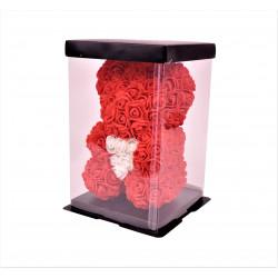 Ursulet cu inimioara din trandafiri de spuma in cutie transparenta H 25
