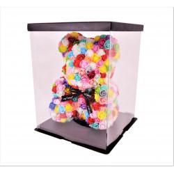 Ursulet din trandafiri multicolori de spuma in cutie transparenta H 35